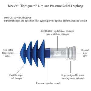 Macks Flightguard Reusable Airplane Pressure Relief Ear Plugs (NRR 26)