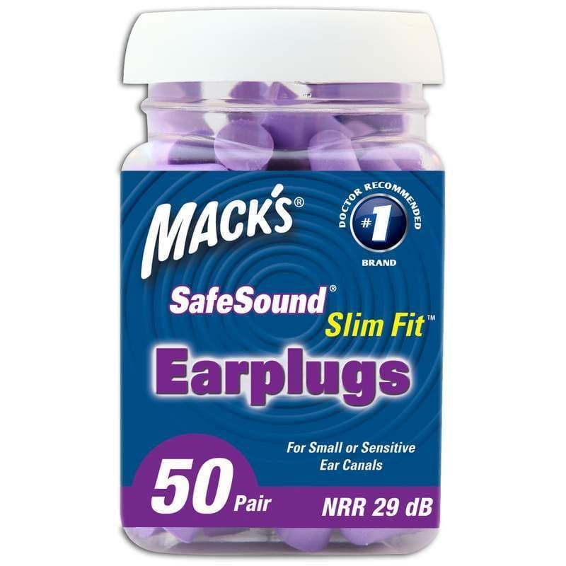 Macks Slim Fit Smaller Soft Foam Ear Plugs (NRR 29) (Bottle of 50 Pairs)