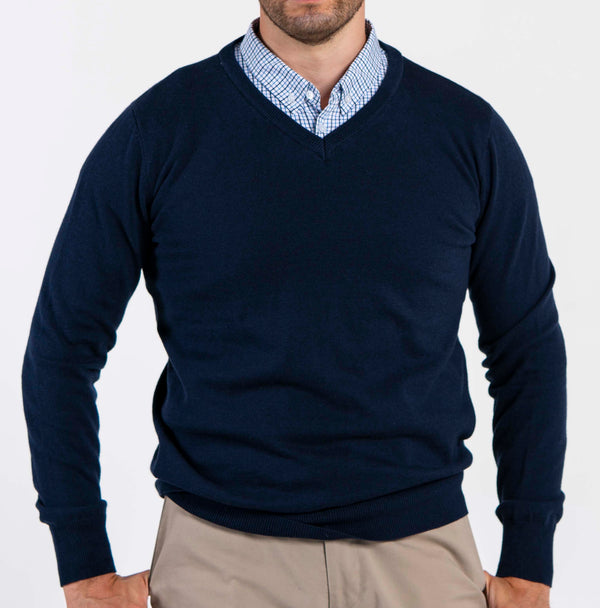 Sapphire Sweater With Blue Check Collared Shirt