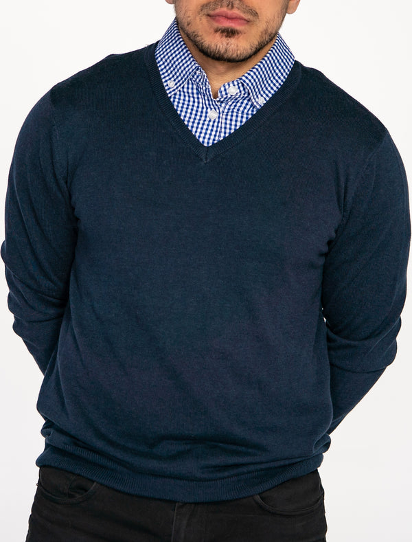 Navy Blue Sweater with Blue Gingham Collared Shirt