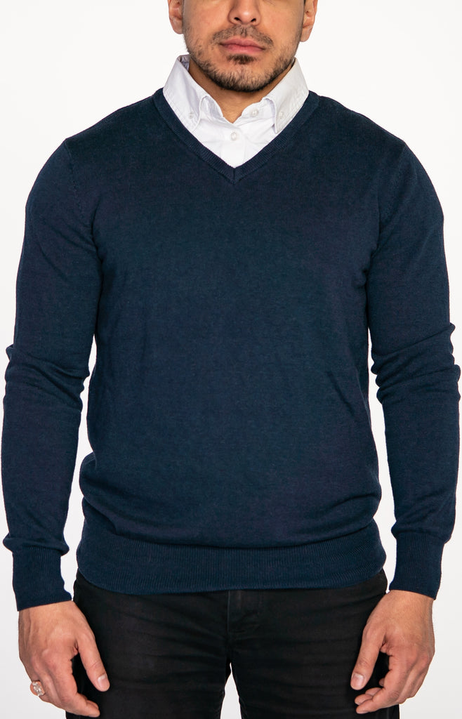 Navy Blue Sweater with White Collared Shirt