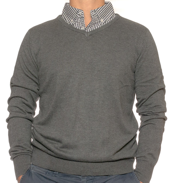 Grey Sweater With Grey Gingham Collared Shirt