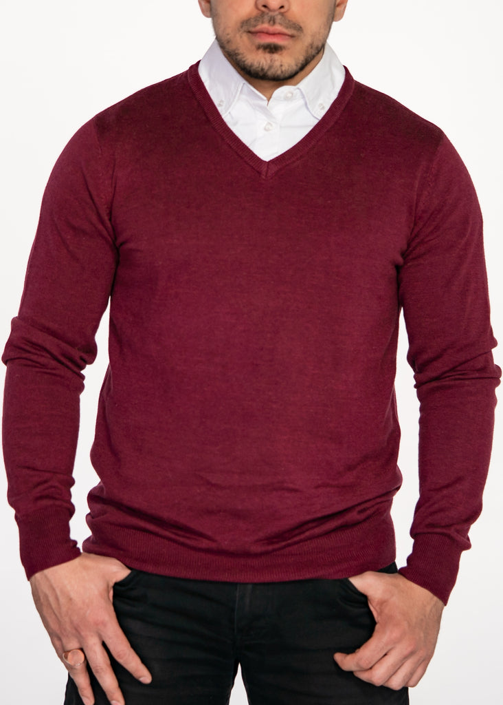 Burgundy Sweater with White Collared Shirt