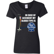 Load image into Gallery viewer, In Case Of Accident My Blood Type is Pabst Blue Ribbon Beer Shirt