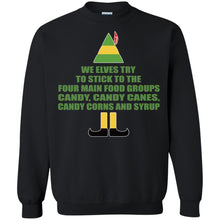 Load image into Gallery viewer, Buddy The Elf - We Elves Try To Stick To The Four Main Food Groups Candy Shirt
