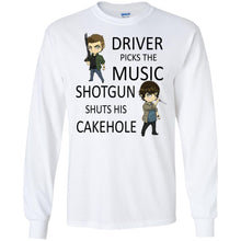 Load image into Gallery viewer, Driver Picks The Music Shotgun Shuts His Cakehole Shirt