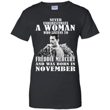 Load image into Gallery viewer, Never Underestimate A Woman Who Listens To Freddie Mercury Shirt