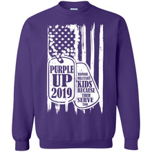 Load image into Gallery viewer, Purple Up 2019 - Honor Military Kids Because Their Serve Too Shirt
