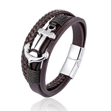 Load image into Gallery viewer, Genuine leather bracelet ship anchor