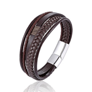 Fashion simple black brown multi-layer leather jewelry