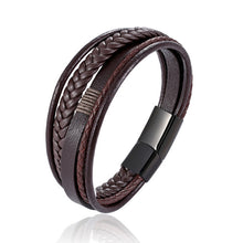 Load image into Gallery viewer, Fashion simple black brown multi-layer leather jewelry