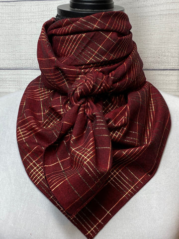 Burgundy & Gold Plaid Cotton Rag