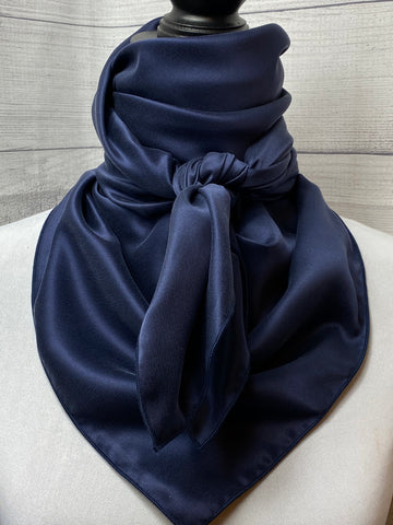 Solid Navy Sandwashed Silk Rag
