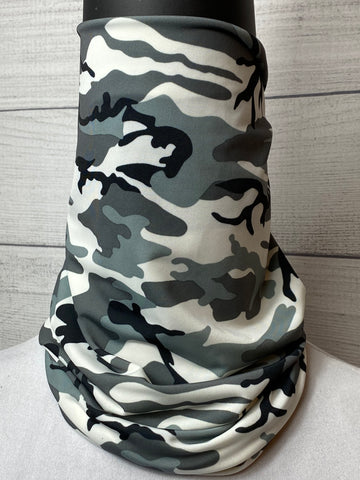 Light Grey Camo Lycra Neck Gaiter