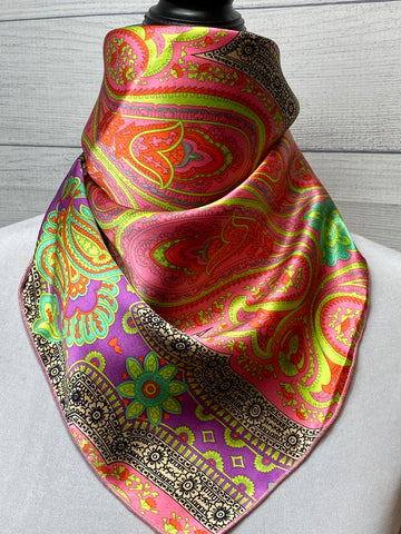 The Amaranth Paisley Silk Neckerchief