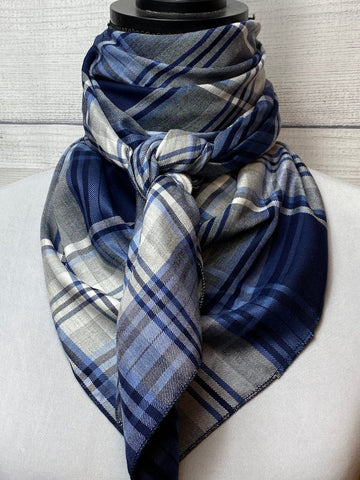 Navy Plaid Silk & Cotton Rag