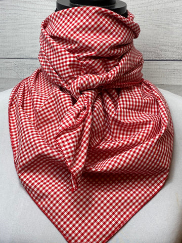 Red Mini Check Cotton Bandana