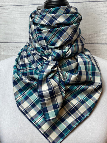 Navy & Turquoise Plaid Cotton Rag