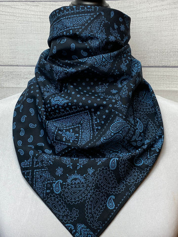 Black & Blue Patched Paisley Cotton Neckerchief