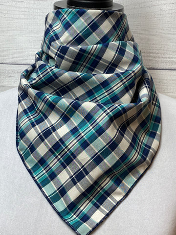 Navy & Turquoise Plaid Cotton Bandana