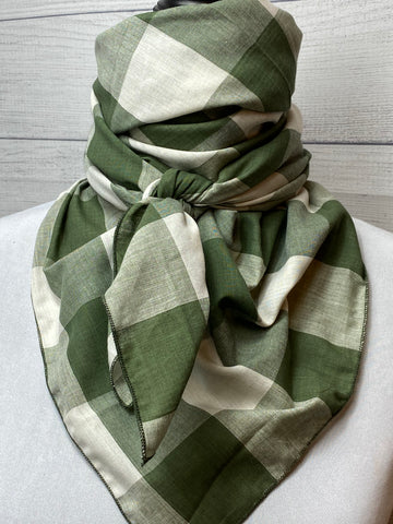 Olive Green Checked Plaid Cotton Voile Bandana