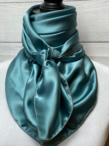 Solid Blue Sage Silk Rag