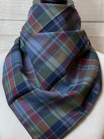 Sky Blue Plaid Cotton Voile Neckerchief