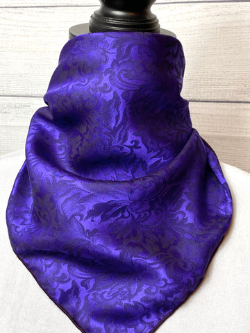 Violet Purple Silk Jacquard Neckerchief
