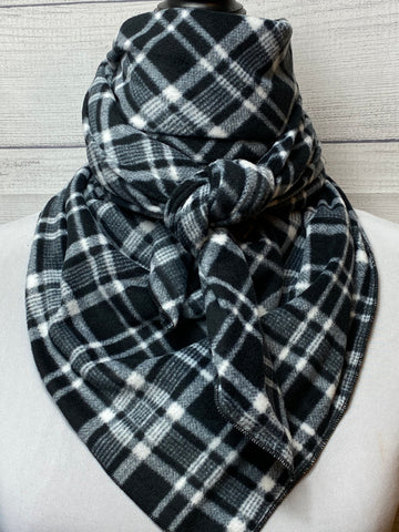 Black Plaid Cotton Fleece Bandana