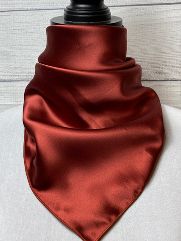 Solid Dark Rust Silk Neckerchief