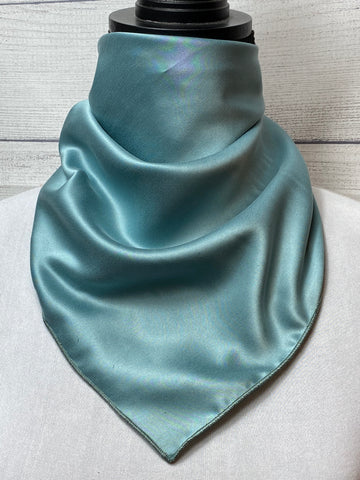 *Sale* Solid Blue Sage Sandwashed Silk Neckerchief