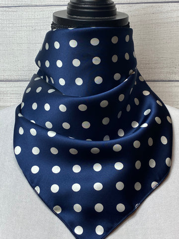 The Navy Blue Polka Dot Silk Neckerchief