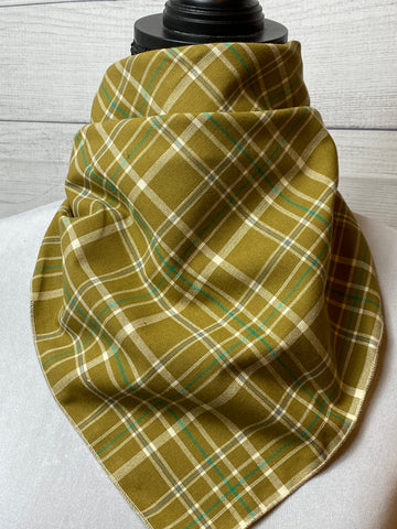 Ochre Plaid Cotton Bandana