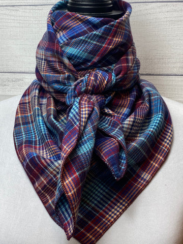 Blue & Burgundy Plaid Cotton Flannel Rag