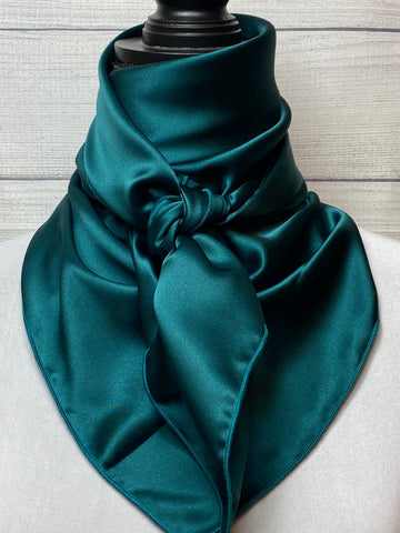Solid Dark Teal Silk Rag