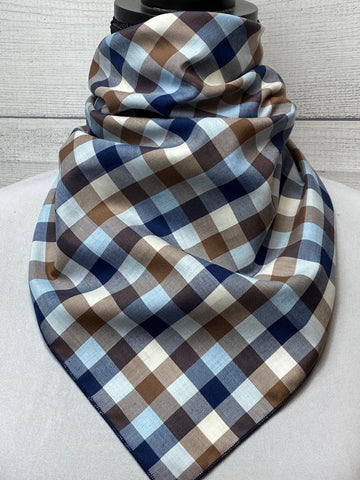 Brown & Blue Plaid Cotton Bandana