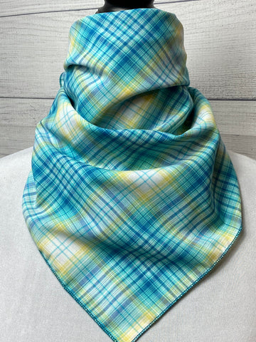 Turquoise and White Plaid Cotton Voile Bandana