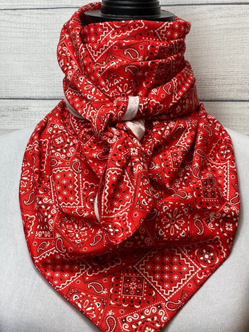 Red Vintage Paisley Cotton Bandana