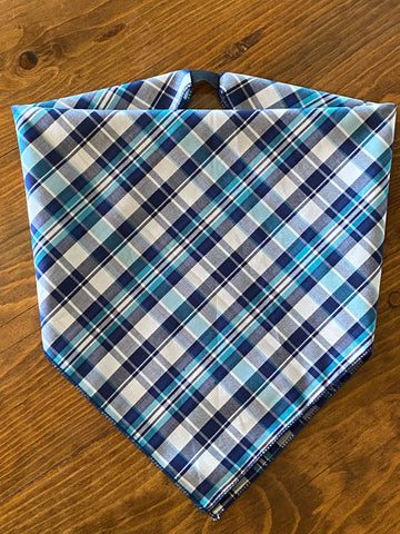 Turquoise Plaid Cotton Kerchief