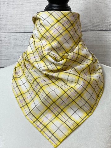 Yellow Plaid Cotton Bandana