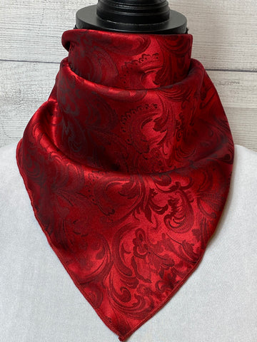 Scarlet Red Silk Jacquard Neckerchief