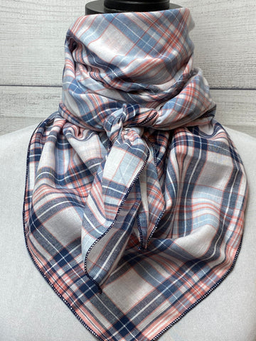 The Benson Plaid Cotton Voile Bandana