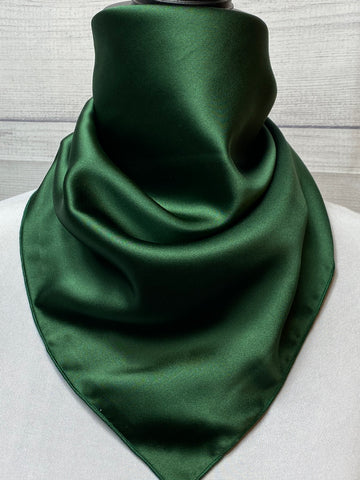 Solid Forest Green Silk Neckerchief