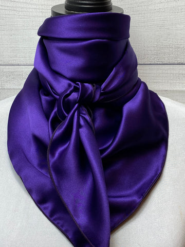 Solid Dark Violet Purple Silk Rag