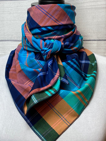 Navy and Turquoise Plaid Cotton Voile Rag