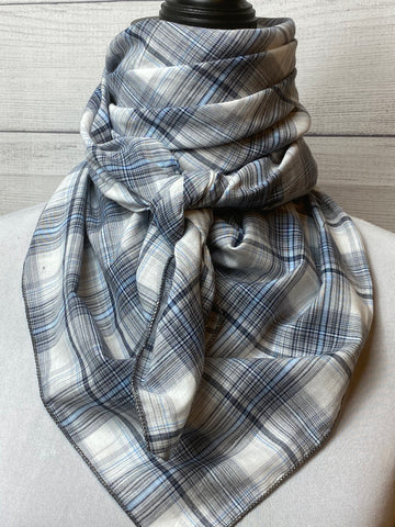 Blue and Grey Plaid Cotton Voile Bandana