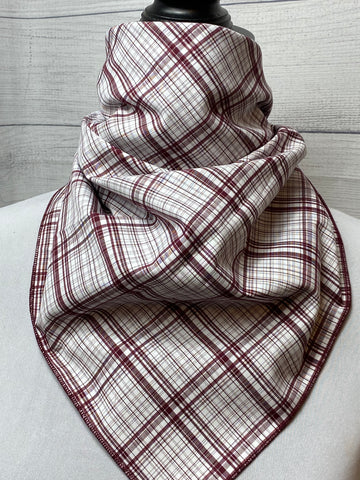 Burgundy Plaid Cotton Neckerchief