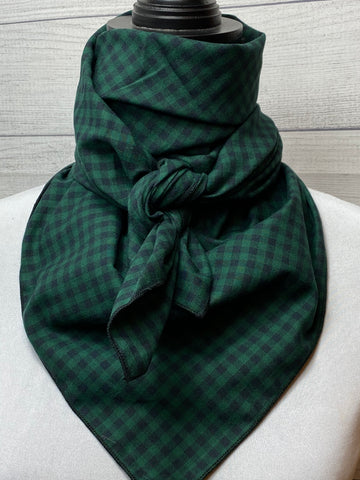 Green Buffalo Check Cotton Bandana