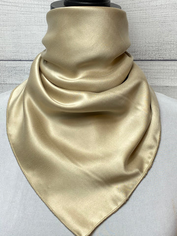 Solid Khaki Sandwashed Silk Neckerchief