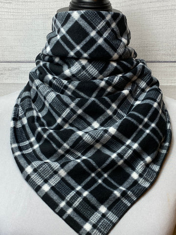 Black Plaid Cotton Fleece Neckerchief